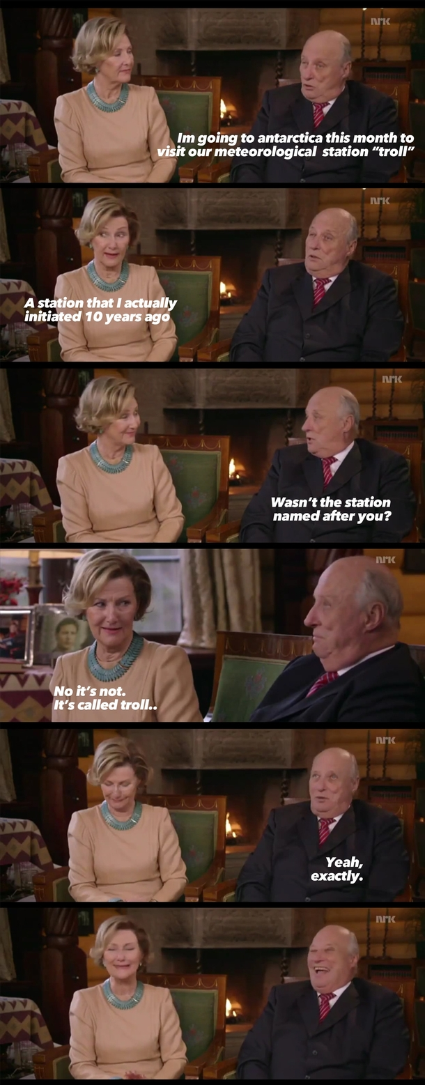 Today is the eighty-first birthday of Harald V king of Norway Heres a joke he made on national television a few years ago The lady is his wife the queen of Norway