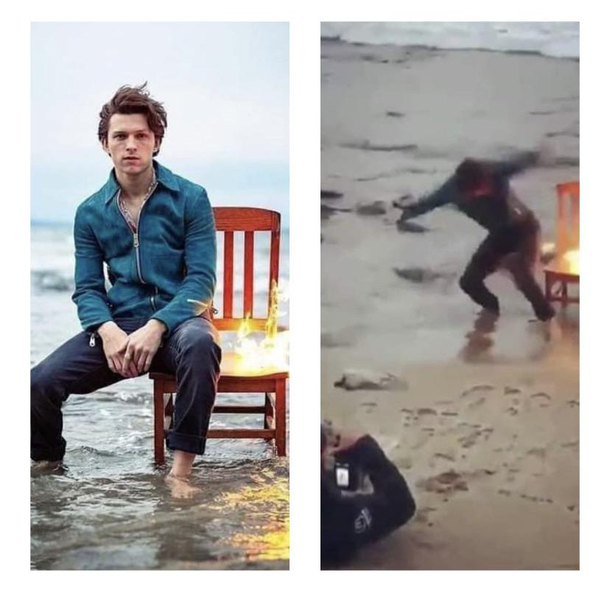 Tom Holland trying time have a serious photo shoot