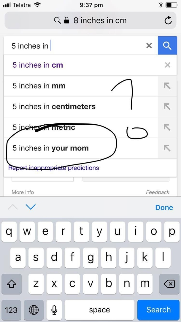 Trying To Use Google To Convert Inches Into Cm When