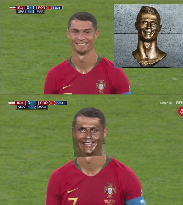 Turns out the Ronaldo statue was realistic all along