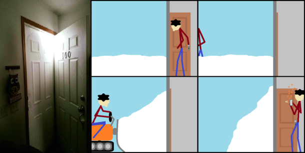 What I imagine happened whenever I see one of those My door is filled with snow pics
