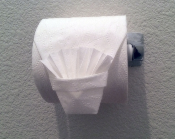 Whenever I go to parties at big fancy houses I origami the TP so other guests are like Are you f-ing kidding me