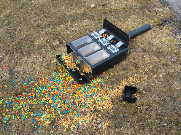 Years from now squirrels at Marquette Park will tell their grandchildren of the day the nutsMampMs machine collapsed