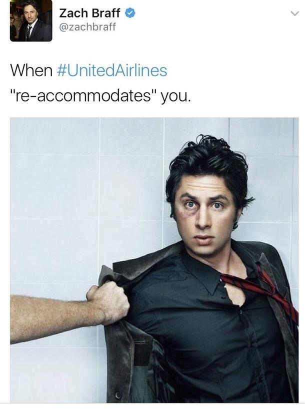Funny Meme Zach : Zach braffs response to united airlines meme guy