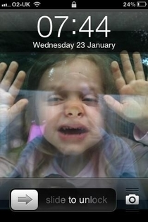 Get your child to squash up against a window  Take photo  Set as phone background  Child is stuck in phone