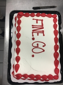 of my favorite coworkers are leaving and I had this cake made and brought it to work for them