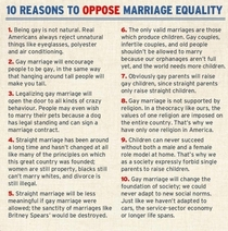 Reasons to Oppose Gay Marriage saw this pop up on my Facebook