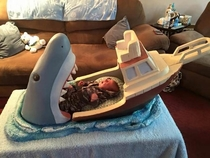 A baby bed inspired by the film Jaws