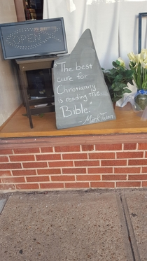 A bible store in Kansas has trouble understanding the meaning of this quote