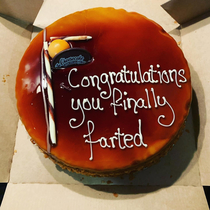 A cake from a bf to gf after  months together she finally farted