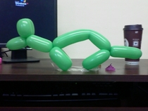 A co-worker told me my animal balloons were shitty So I did this to her desk