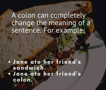 A colon can completely change the meaning of a sentence