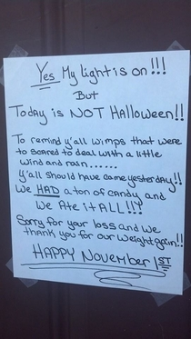 A few cities in my area actually postponed Halloween because it was raining Someone posted this sign