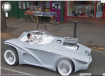 A friend and I found this futuristic badass contemplating life on Google Maps
