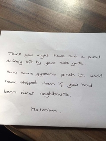 A friend of mine has received this note from the guy next door