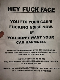 A friend of mine installed a very loud straight pipe exhaust on his car a few weeks ago He woke up to this on his windshield