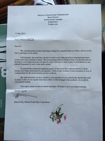 A friends son was disappointed when the tooth fairy hadnt arrived after three days