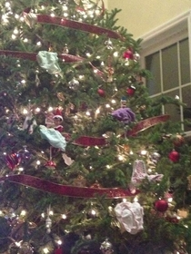 A friends -year-old daughter decided to add her own ornaments to the Christmas tree