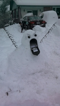 A friends younger sister just posted this masterful snow sculpture she made today The caption said simply I did this