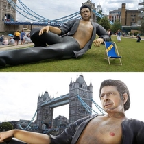 A ft statue of Jeff Goldblum emerged in London to celebrate  years of Jurassic Park