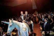 A GAY JEWISH WEDDING WHERE THEY RODE IN ON A HORSE DRESSED AS A UNICORN