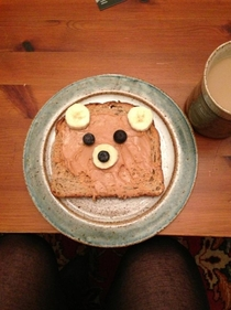 A girl posted this to instagram titled Breakfast Bear I didnt have the heart to tell her who it resembled