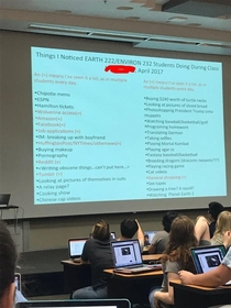A GSI took notes on what students do in class