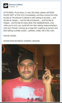 a guy in Reno didnt pay his bar tab Publicly shamed on Bars facebook