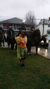 A kid at my college Ohio University mocking the notorious horse patrol
