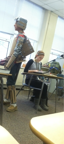 A kid came to class today dressed in full Samurai cardboard armor with cardboard swords