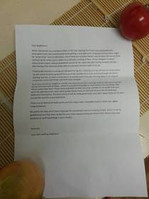 A letter from a passive aggressive neighbour dropped in every mailbox in my apartment building