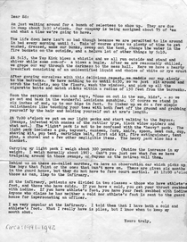 A letter from my father to his brother while at basic training at Camp Lejeune  or