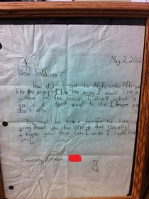 A letter I got from a kid when I was deployed to Afghanistan