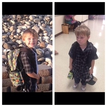 A picture of my friends little cousin before and after his first day of kindergarten Broken