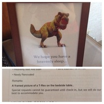 A pictures of a T-Rex in a frame on my bedside table