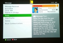 A random message I just received from another xbox live gamer  or perhaps myself