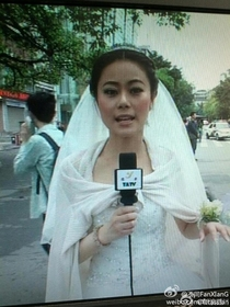 A reporter was having her wedding when the quake hit Sichuan today She went to work immediately