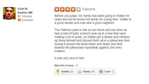 A review from Dr Walter Palmers Yelp page