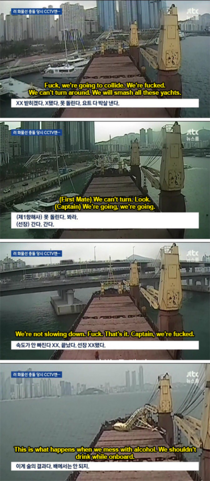 A Russian container ship crashed into a bridge in Busan South Korea The translation is like something out of a Always Sunny episode