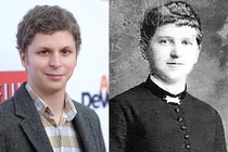 A side-by-side of Michael Cera and Hitlers mom