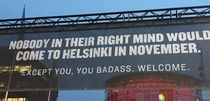 A sign by the airport in Helsinki Finland