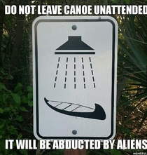 A sign for a canoekayak washing station it can not be unseen