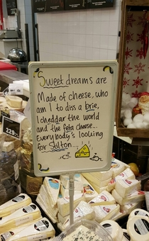 A sign in the cheese section of a grocery store x-post rSweden
