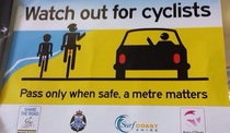 A sign warning about cyclists near my town