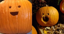 A squirrel has violated my pumpkin He will never be the same