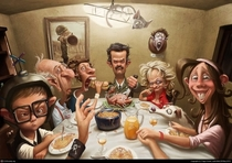 A Thanksgiving dinner with girlfriends family Artist unknown