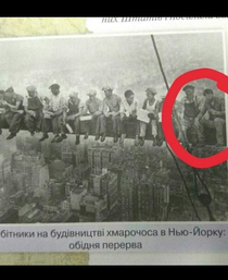 A Ukrainian history textbook has Keanu Reeves photoshopped to the famous Lunch atop a Skyscraper photo