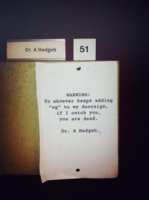 A warning note from Dr Hedgeh