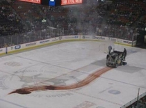A Zamboni leaking transmission fluid looks a lot like a terrible accident has happened