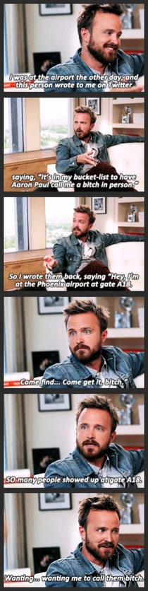 Aaron Paul just wanted to fulfill a bucket list wish for a fan